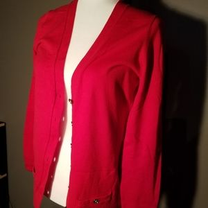 ANNE KLEIN Womens Red Cardigan Sweater